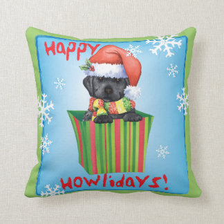 Happy Howliday Black Lab Throw Pillow