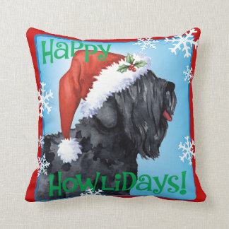 Happy Howliday Black Russian Terrier Cushion