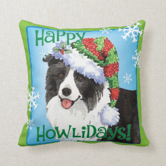 Happy Howliday Border Collie Cushion