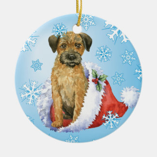 Happy Howliday Border Terrier Round Ceramic Decoration