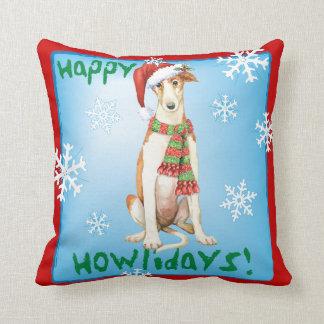 Happy Howliday Borzoi Cushion
