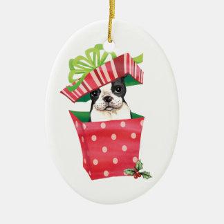 Happy Howliday Boston Terrier Ceramic Oval Decoration