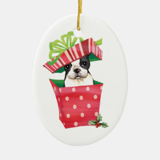 Happy Howliday Boston Terrier Christmas Ornament