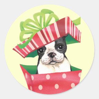 Happy Howliday Boston Terrier Classic Round Sticker