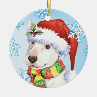 Happy Howliday Bull Terrier Christmas Ornament