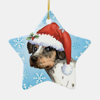 Happy Howliday Catahoula Ceramic Star Decoration
