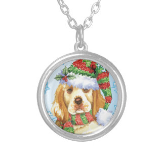 Happy Howliday Clumber Spaniel Silver Plated Necklace