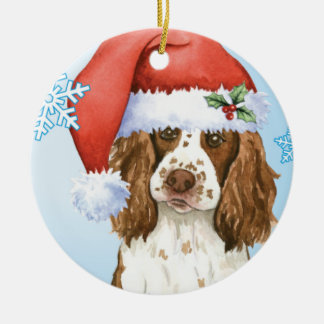 Happy Howliday English Springer Spaniel Round Ceramic Decoration