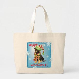 Happy Howliday German Shepherd Large Tote Bag