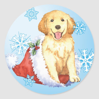 Happy Howliday Golden Retriever Classic Round Sticker