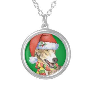 Happy Howliday Greyhound Round Pendant Necklace