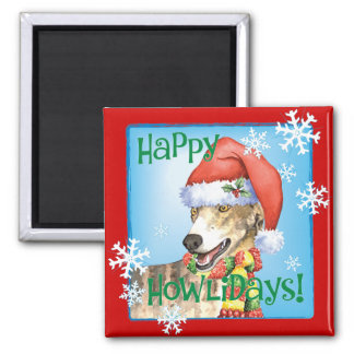 Happy Howliday Greyhound Square Magnet