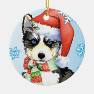 Happy Howliday Husky Christmas Ornament