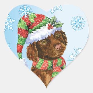 Happy Howliday Irish Water Spaniel Heart Sticker