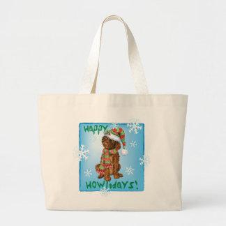 Happy Howliday Irish Water Spaniel Large Tote Bag