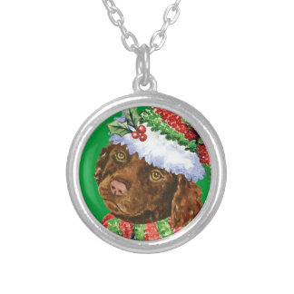 Happy Howliday Irish Water Spaniel Silver Plated Necklace