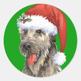 Happy Howliday Irish Wolfhound Round Sticker