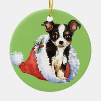 Happy Howliday Long Coat Chihuahua Christmas Ornament