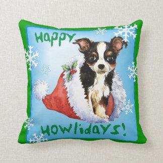 Happy Howliday Long Coat Chihuahua Cushion