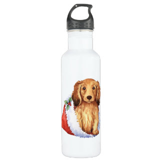 Happy Howliday Longhaired Dachshund 710 Ml Water Bottle