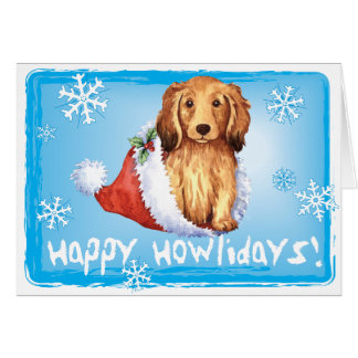 Happy Howliday Longhaired Dachshund Greeting Card