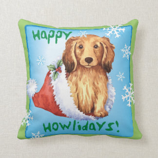 Happy Howliday Longhaired Dachshund Cushion