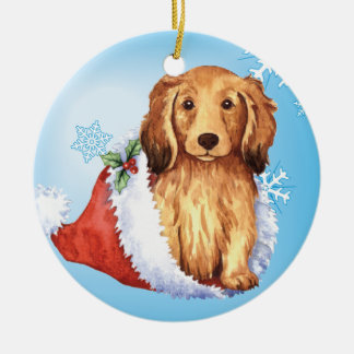 Happy Howliday Longhaired Dachshund Double-Sided Ceramic Round Christmas Ornament