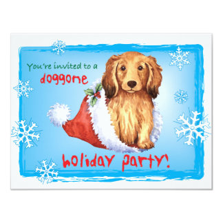 Happy Howliday Longhaired Dachshund 4.25x5.5 Paper Invitation Card