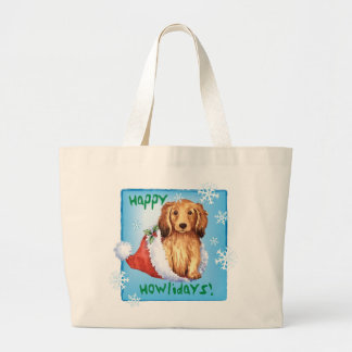 Happy Howliday Longhaired Dachshund Large Tote Bag