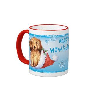 Happy Howliday Longhaired Dachshund Ringer Mug