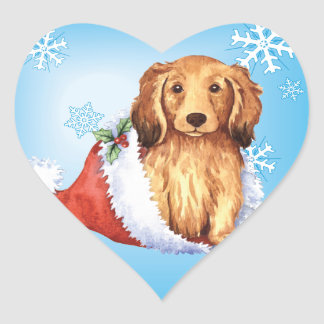 Happy Howliday Longhaired Dachshund Heart Sticker