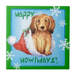 Happy Howliday Longhaired Dachshund Tile