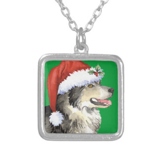 Happy Howliday Malemute Silver Plated Necklace