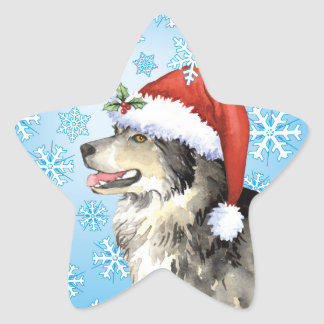 Happy Howliday Malemute Star Sticker