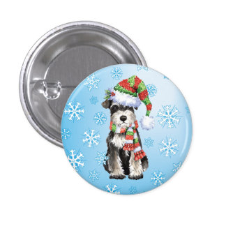 Happy Howliday Mini Schnauzer 3 Cm Round Badge