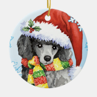 Happy Howliday Miniature Poodle Round Ceramic Decoration