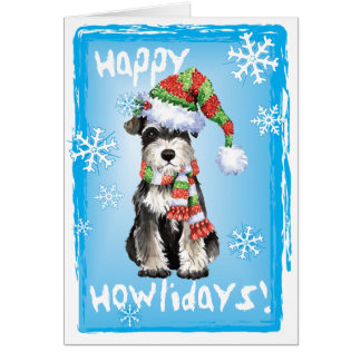 Happy Howliday Miniature Schnauzer Greeting Card