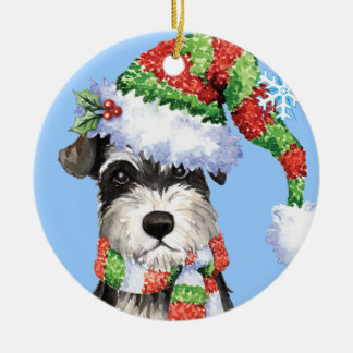 Happy Howliday Miniature Schnauzer Round Ceramic Decoration