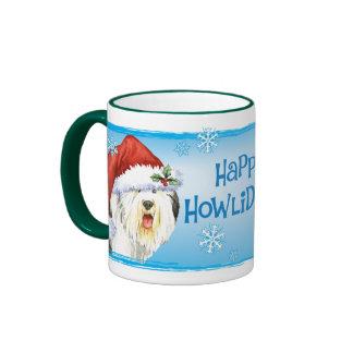 Happy Howliday Old English Sheepdog Ringer Mug