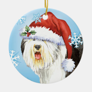 Happy Howliday Old English Sheepdog Round Ceramic Decoration