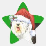 Happy Howliday Old English Sheepdog Star Sticker