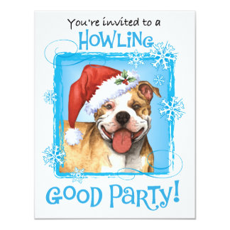 Happy Howliday Pit Bull Terrier 11 Cm X 14 Cm Invitation Card