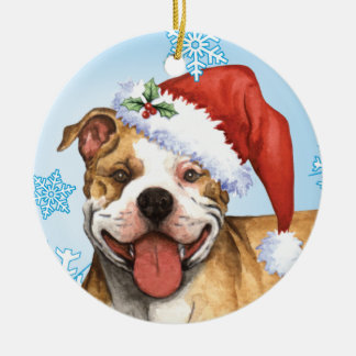 Happy Howliday Pit Bull Terrier Christmas Ornament