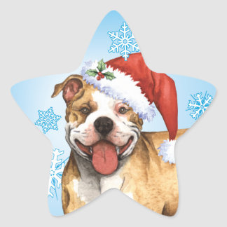 Happy Howliday Pit Bull Terrier Star Sticker