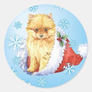 Happy Howliday Pomeranian Classic Round Sticker