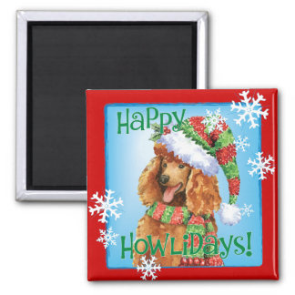 Happy Howliday Poodle Square Magnet