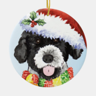 Happy Howliday Portuguese Water Dog Round Ceramic Decoration