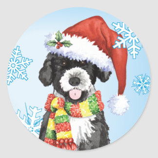 Happy Howliday Portuguese Water Dog Round Sticker