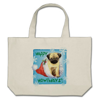 Happy Howliday Pug Canvas Bags