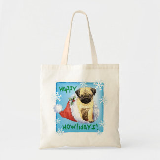 Happy Howliday Pug Budget Tote Bag